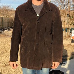 J.Crew Men's Leather/Suede Car Coat Brown